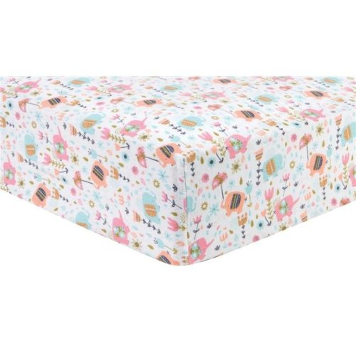 Trend Lab 101301 Playful Elephants Deluxe Flannel Fitted Crib Sheet