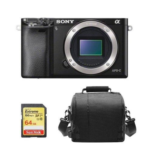 SONY A6000 Body Black + 64GB SD card + camera Bag