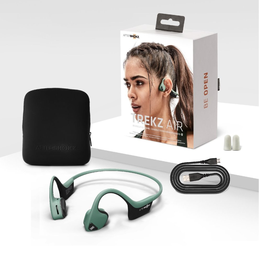 507561cf47c ... Forest AfterShokz Trekz Air Sweatproof Bone Conduction Bluetooth  Headphones Wireless Earphones with Mic for Running, Forest. >