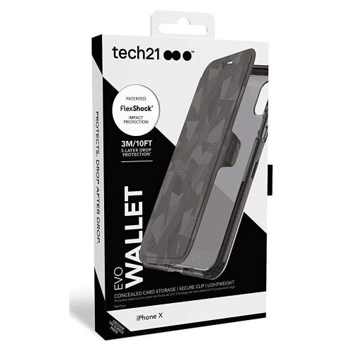 Tech21 Evo Wallet Case Cover for iPhone X - Black (T21-5860)