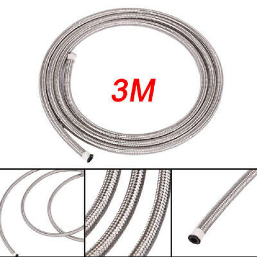 QUALITY AN6 STAINLESS STEEL BRAIDED FUEL HOSE LINE OIL PETROL SILVER- 3M/10ft