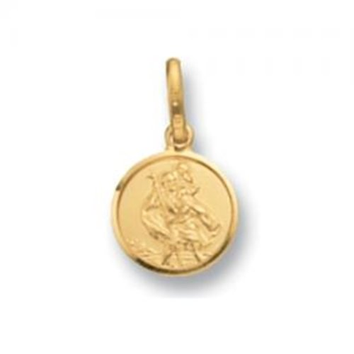 Mens 9ct Gold Round St Christopher Pendant On A Curb Necklace