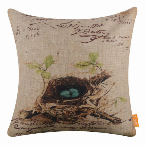 "18""x18"" Vintage Bird Nest on Branch Design Burlap Pillow Cover Cushion Cover"
