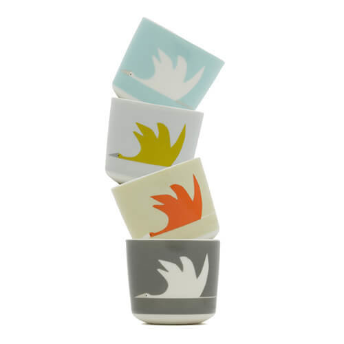 Scion 4-Piece Colin Crane Egg Cup, Porcelain, Multi-Colour, 4.8 x 4.8 x 4.8 cm