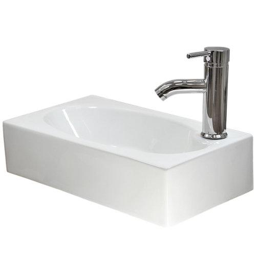 Caspian Ceramic Rectangle Wall Mount Bathroom Sink, Tap & Plug