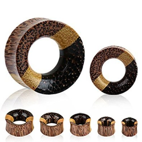 Triple Layered Multiple Pattern Natural Organic Wooden Tunnel Ear Tunnel Saddle Plug