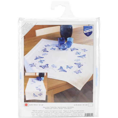 """Blue Butterflies Table Runner Stamped Embroidery Kit-16""""X40"""""""