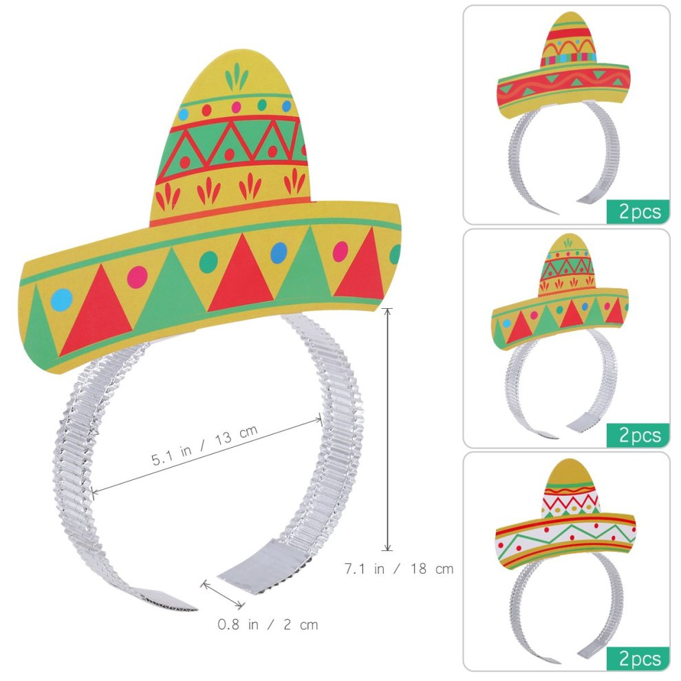 a3aaab510e5c6 ... LUOEM Fiesta Sombrero Headband Hair Clasps Mexican Party Supplies Cinco  De Mayo Foil Tiaras Sombrero Party ...