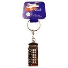 Pewter London Telephone Box Keyring Keychain Souvenir Gift UK GB Silver Coloured British English