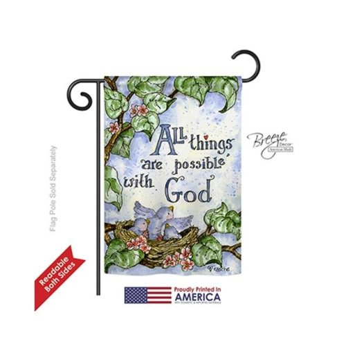Breeze Decor 65110 All Things Are Possible with God 2-Sided Impression Garden Flag - 13 x 18.5 in.