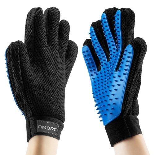 Pet Grooming Glove, OMorc Gentle Deshedding Brush Glove - Efficient Pet Hair Remover Mitt - Massage Tool with Enhanced Five Finger Design Perfect...