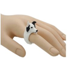 Creative Cute Handmade Resin Simulation Dog Ring