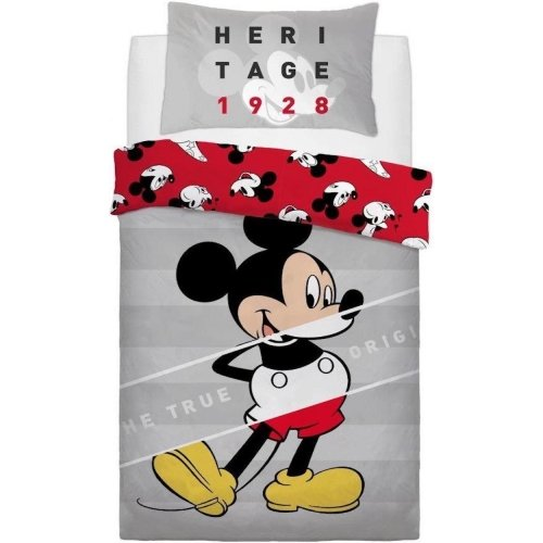 Official Disney Mickey Mouse True Original Reversible Single Duvet Cover with Matching Pillow Case Bedding Set