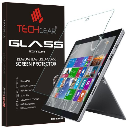 "TECHGEAR GLASS Edition fits Microsoft Surface Pro 3 (12"" Screen) - Genuine Tempered Glass Screen Protector Guard Cover Compatible with Microsoft..."
