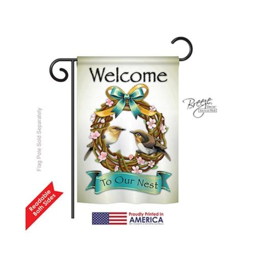 Breeze Decor 50046 Welcome Welcome To Our Nest 2-Sided Impression Garden Flag - 13 x 18.5 in.