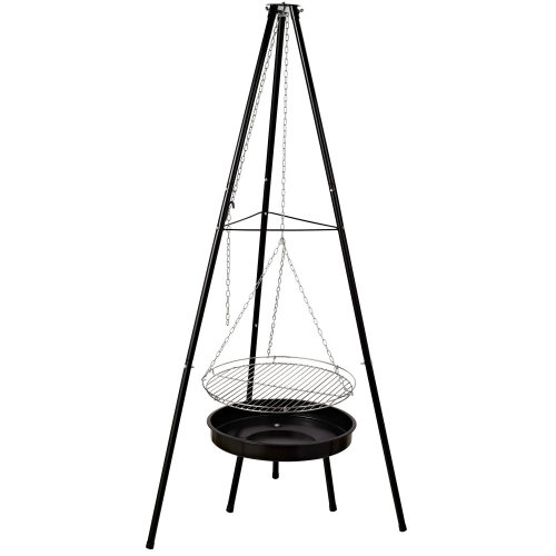 Outsunny Hanging Charcoal BBQ & Tripod - Black | Hanging Grill