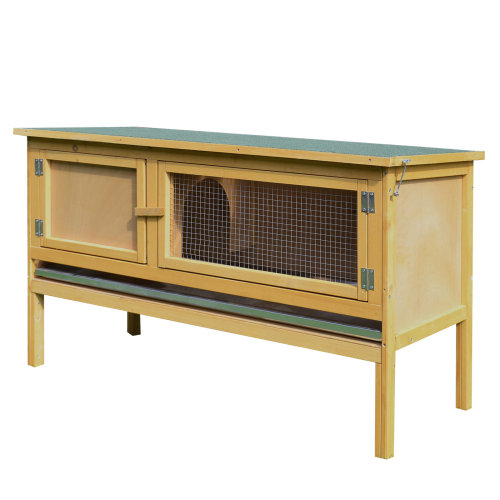 PawHut Wooden Rabbit Hutch Bunny Cage Outdoor Small Animal House w/ Hinged Top Slide out Tray 115 x 44.3 x 65 cm