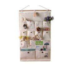 12-Pockets Zakka Wall Door Hanging Storage Bag Case Home Organizer, B