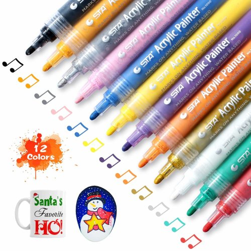 Markers Pens SOLEDÌ Acrylic Paint 2mm Nib Safe & Non-Toxic Set of 12 Colors for Making Painting and DIY