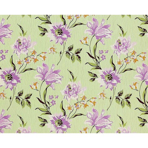 EDEM 900-18 non-woven wallpaper flowers fabric look green lilac olive 10.65 sqm