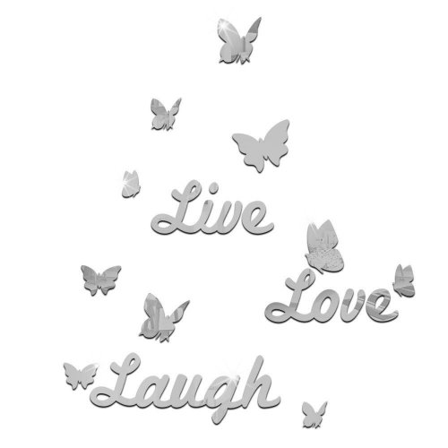 TRIXES Live Love Laugh Silver Mirrored with Butterflies  Wall Decal Murals