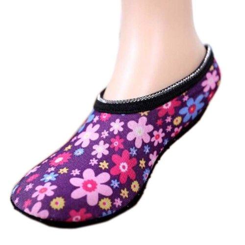 Multicolor Flower Pattern Women Socks Dance Non-slip Socks Warmer Socks, 2 Pairs