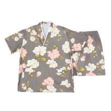 Yellow Flora Pattern Long Pants Pajamas Cotton Pajamas Suit Pullover Kimono Styl