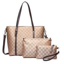 Buy 1 Get 1 at 20% Off Miss Lulu 3 Pieces Women M Designer Shoulder Handbag Cross Body Bag Purse PU Leather Tote Brown
