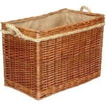 Light Steamed Medium Rectangular Rope Handled Log Basket