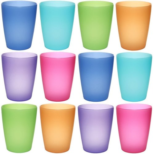 idea-station NEO plastic cups 250 ml reusable, 12 pieces, colorful,  stackable, can also be used as water glasses, cocktail glasses, as party  mug,