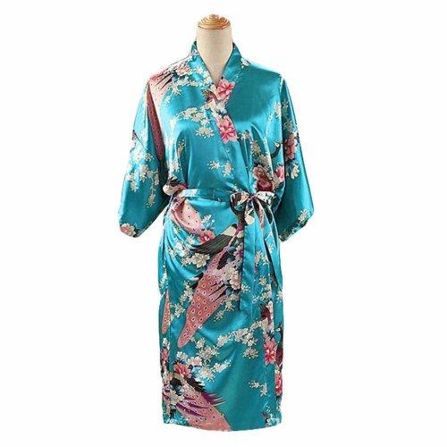 Turquoise - Peacock Blossoms Women s Long Bathrobe Kimono Robe Silk-like  Pajamas on OnBuy d8c1cc8d7