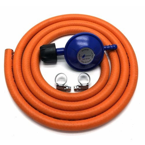 Campingaz Type 30Mbar Gas Regulator With 2M Hose + 2 Stainless Band Hose Clips Fits 907 904 901