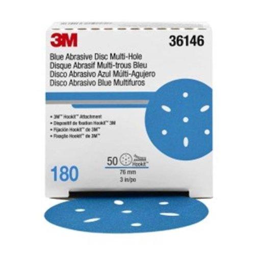 3M 3M-36146 3 in. Hookit Blue Abrasive Disc Multi-Hole, 180 Grade