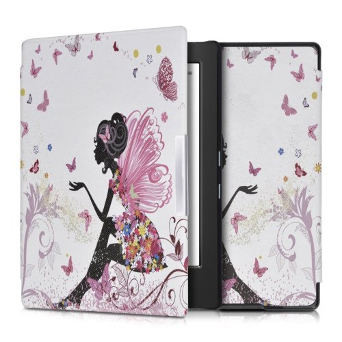 kwmobile Case for Kobo Aura H2O Edition 1 - Book Style PU Leather Protective e-Reader Cover Folio Case - Multicolor Dark Pink White