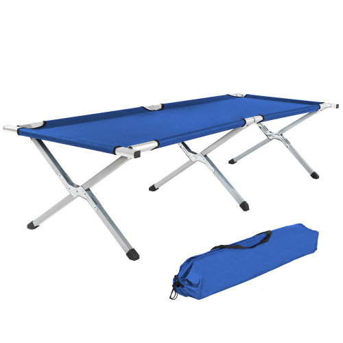 2 camping beds made of aluminium blue