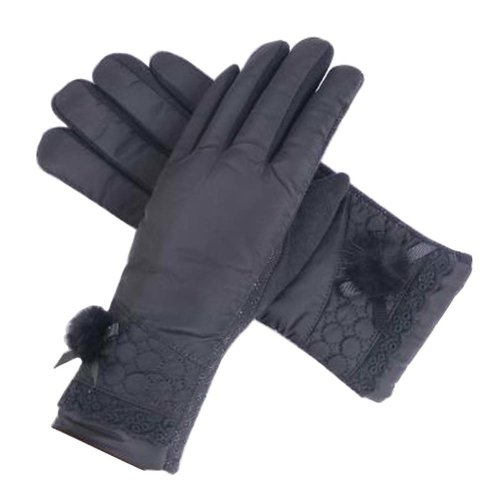[Black-1] Woman Winter Thick Gloves Pretty Driving Gloves Skiing Gloves