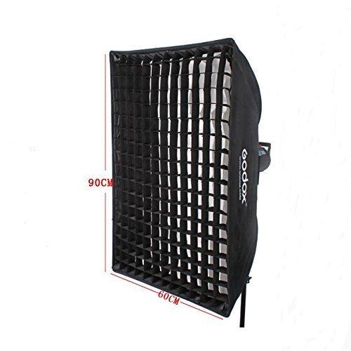 Godox 60cmx90cm 24x36 Softbox lighting with Grid Beehive Bowens Mount Speedring for Studio Photo Flash Speedlight Light USB LED 60cmx90cm with Grid