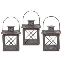 Set of Three Small 'Farol' Garden Lanterns in Charcoal Grey Metal