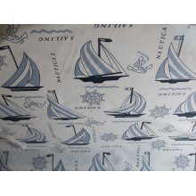 "Nautical Theme Cotton Canvas in Blue by the metre 60"" / 152cm Wide"