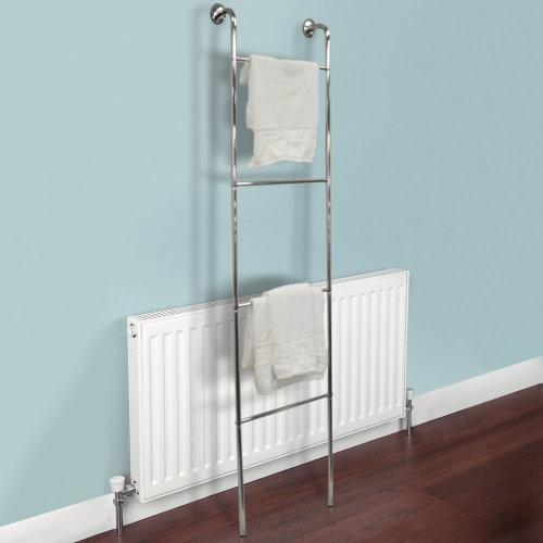 LADDER - Chrome Wall Mounted 4 Rung Towel Rail - Silver