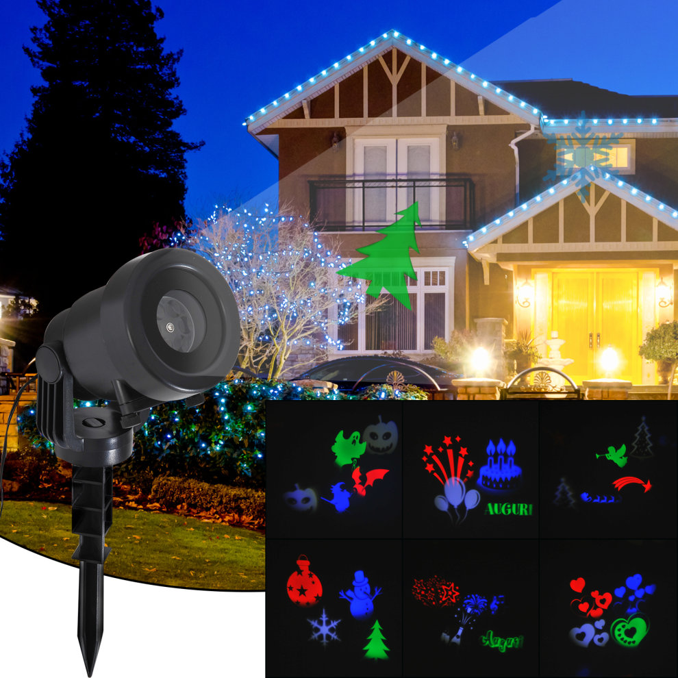 Homcom Christmas Projector 6 Replaceable Pattern Slides Garden Landscape Indoor Outdoor Decoration For Party Xmas Holiday