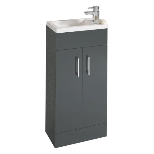 E-PLUMB Anthracite Square Basin Bathroom Furniture Cloakroom Compact Vanity Unit 400 X 250