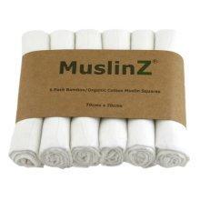 MuslinZ 6pk Bamboo/Organic Cotton Muslin Squares White