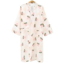Japanese Style Women Thin Cotton Bathrobe Pajamas Kimono Skirt Gown-D10
