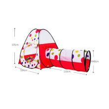 Kids Play Tents Indoor/Outdoor Play Tent with Tunnel (Under 3 Years Old,Red/Dot)