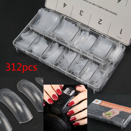 312 pcs Professional French false nails for acrylic nail art tips Clear