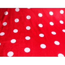 "Red Spotty Poly Velour Fabric by the metre 60"" / 152cmWide"