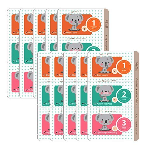 Pack of 10 The Elixir Beauty 3 Step Koal Nose Clear Solution Deep Cleansing Pore Strips Nose Strip Mask Pack