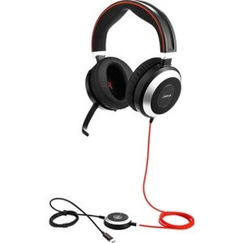Jabra Evolve 80 Uc Wired Stereo Headset Over-The-Head Circumaural Black Min 7899-829-289
