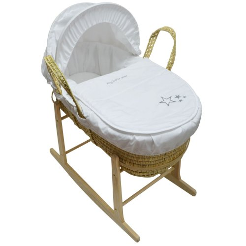 Beautiful Moses Basket And Natural Rocking Stand White My Little Star Palm